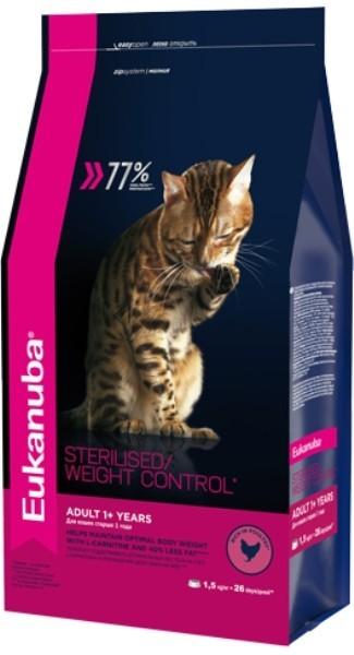 EUK Cat корм для взрослых кошек с избыточным весом и стерилизованных 1,5 кг