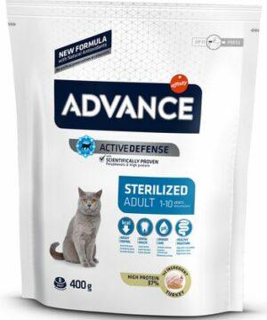 ADVANCE ADULT STERILISED TURKEY 400 г сухой корм для стерилизованных кошек с индейкой 1х8