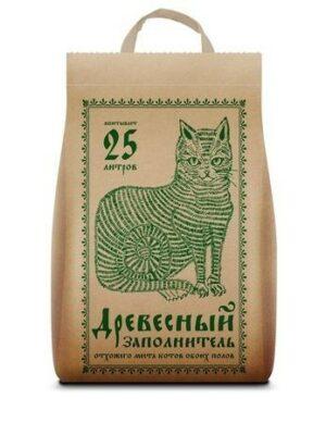 Древесный заполнитель 25 л впитывающий наполнитель для кошачьих туалетов