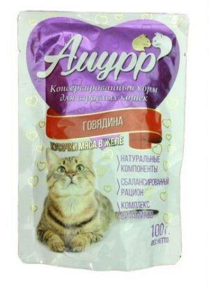 АМУРР  Консервы для кошек кусочки мяса в желе со вкусом говядины пауч