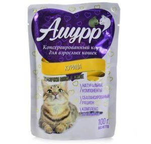 АМУРР 100г Консервы для кошек кусочки мяса в желе со вкусом курицы пауч 1х24