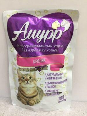 АМУРР Консервы для кошек кусочки мяса в желе со вкусом кролика пауч