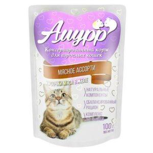 АМУРР  Консервы для кошек кусочки мяса в желе со вкусом мясного ассорти пауч