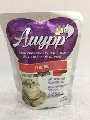 АМУРР  Консервы для кошек кусочки мяса в желе со вкусом ягненка пауч