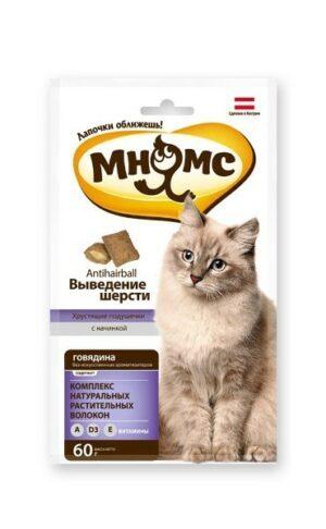 """Мнямс хрустящие подушечки для кошек с говядиной """"Выведение шерсти"""""""