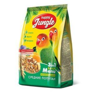 HAPPY JUNGLE 500 г корм для средних попугаев 1х14