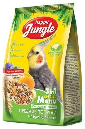 HAPPY JUNGLE 500 г корм для средних попугаев при линьке 1х14