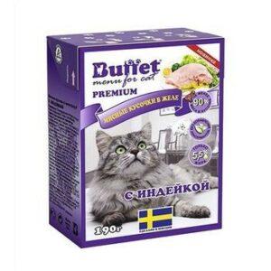 BUFFET Tetra Pak 190 г консервы для кошек мясные кусочки в желе с индейкой 1х16