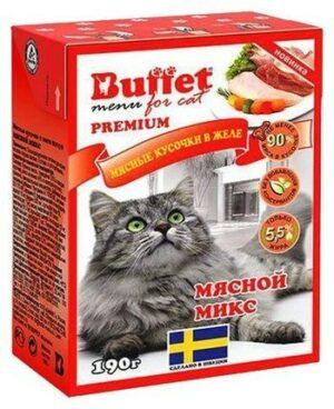BUFFET Tetra Pak 190 г консервы для кошек мясные кусочки в желе мясной микс 1х16
