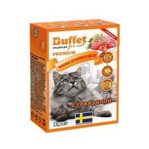 BUFFET Tetra Pak 190 г консервы для кошек мясные кусочки в желе с говядиной 1х16