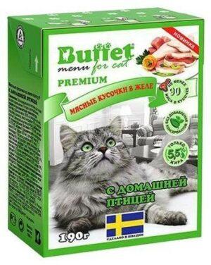 BUFFET Tetra Pak 190 г консервы для кошек мясные кусочки в желе с домашней птицей 1х16