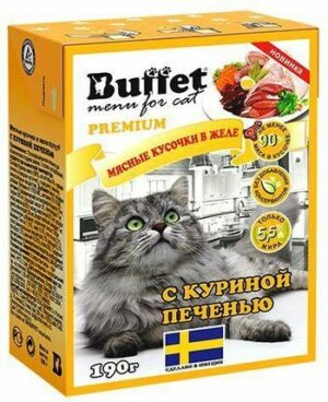 BUFFET Tetra Pak 190 г консервы для кошек мясные кусочки в желе с куриной печенью 1х16