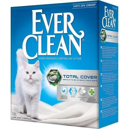 EVER CLEAN Total Cover 10 л комкующийся наполнитель для кошачьих туалетов с микрогранулами двойного действия