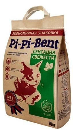Pi-Pi Bent Сенсация свежести 10 кг комкующийся наполнитель для кошачьих туалетов с ароматом свежих трав и цветов крафтовый пакет