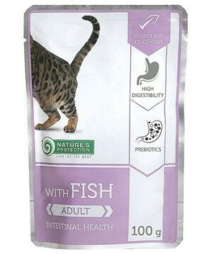 NATURE'S PROTECTION Adult Fish Intestinal Health консервы полнорационное питание с рыбой для взрослых кошек с чувствительным пищеварением пауч