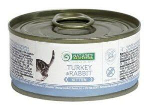 NATURE'S PROTECTION KITTEN TURKEY& RABBIT 100г консервы полнорационное питание с индейкой и кроликом для котят и кормящих кошек 1х6