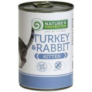 NATURE'S PROTECTION TURKEY& RABBIT 400г консервы полнорационное питание с индейкой и кроликом для котят и кормящих кошек 1х6