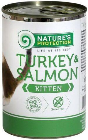 NATURE'S PROTECTION KITTEN TURKEY & SALMON 400г консервы полнорационное питание с индейкой и лососем для котят и кормящих кошек 1х6