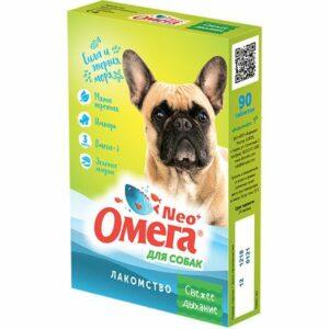 ОМЕГА NEО+ 90 таб лакомство для собак с мятой и имбирем 1х5