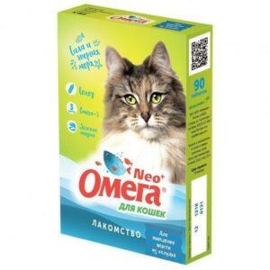 ОМЕГА NEО+ 90 таб лакомство для кошек с ржаным солодом 1х5