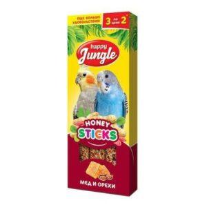HAPPY JUNGLE 3 шт палочки для птиц мед+орехи 1x22