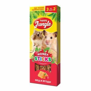 HAPPY JUNGLE 3 шт палочки для мелких грызунов мед+ягоды 1x22