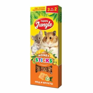 HAPPY JUNGLE 3 шт палочки для мелких грызунов мед+фрукты 1x22