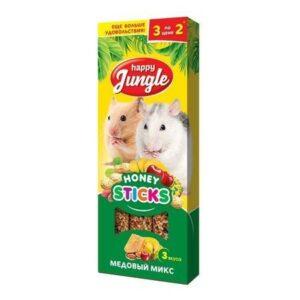 HAPPY JUNGLE 3 шт палочки для мелких грызунов микс 3 вкуса 1x22
