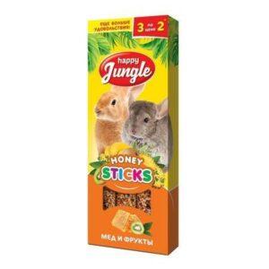 HAPPY JUNGLE 3 шт палочки для крупных грызунов мед+фрукты 1x22