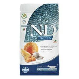 FARMINA N&D GF Ocean Adult 300 г корм беззерновой для кошек сельдь с тыквой и апельсином 1х30
