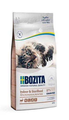 BOZITA Indoor & Sterilized GF Reindeer 33/14 10 кг сухой беззерновой корм для стерилизованных