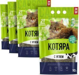 Котяра 10 л комкующийся наполнитель с активированным углем для кошачьих туалетов 1х4