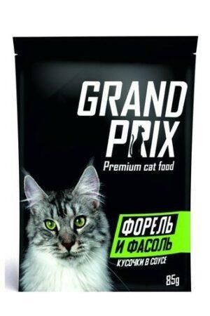 GRAND PRIX 85 г кусочки в соусе форель и фасоль для кошек 1х24