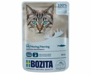 BOZITA Pouch Herring in sauce 85 г пауч для взрослых кошек кусочки в соусе с сельдью 1х12