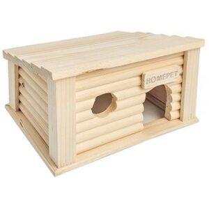 HOMEPET 18 см х 13 см х 11 см домик для мелких грызунов южный деревянный