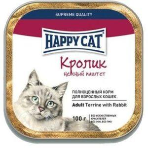 HAPPY CAT 100 г консервы для стерилизованных кошек кусочки в соусе кролик пауч 1х22