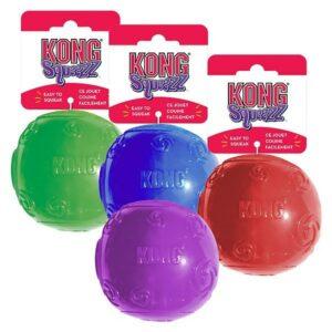 KONG игрушка для собак Сквиз Мячик средний резиновый с пищалкой  цвета в ассортименте