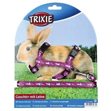 Шлейка+поводок д/кролика TRIXIE нейлон с рисунком