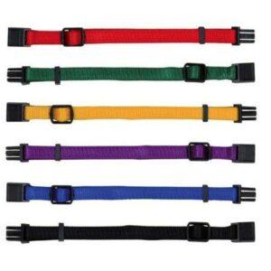 TRIXE 15551 Ошейник д/щенка НАБОР S-M 17-25 см/10мм красный,зеленый,желтый,фиолетовый,синий,черный нейлон (набор 6шт.)