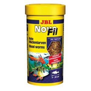 JBL NovoFil - Сушеный мотыль, дополнительный корм для привередливых пресноводных аквариумных рыб и черепах, 250 мл (20 г)