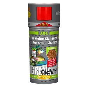 JBL GranaCichlid CLICK - Основной корм премиум-класса в форме гранул для хищных цихлид, в банке с дозатором, 250 мл (110 г)