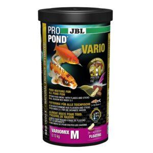 JBL ProPond Vario M - Основной корм в форме плавающих палочек и хлопьев для прудовых рыб среднего размера, 0,13 кг (1 л)