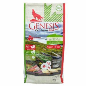 Genesis Pure Canada Green Highland Puppy для щенков, юниоров, беременных и кормящих взрослых собак всех пород с курицей, козой и ягненком - 2,268 кг