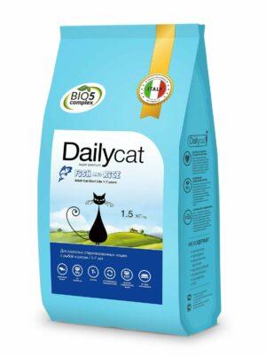 Dailycat Adult Steri Lite Fish & Rice для взрослых кастрированных и стерилизованных кошек с рыбой и рисом - 1
