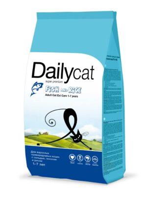 Cухой корм Dailycat Adult Exi Care Fish and Rice для взрослых привередливых кошек с сельдью