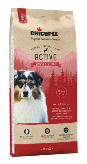 Chicopee CNL Active Chicken & Rice сухой корм для активных собак всех пород с курицей и рисом