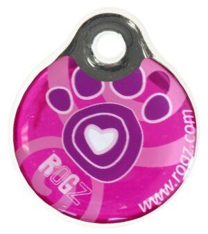 Rogz ID Tag LaGe Pink Paw L адресник пластиковый готовый к пользованию, розовый, 34 мм