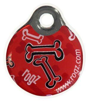 Rogz ID Tag LaGe Red Bone L адресник пластиковый готовый к пользованию, красный, 34 мм