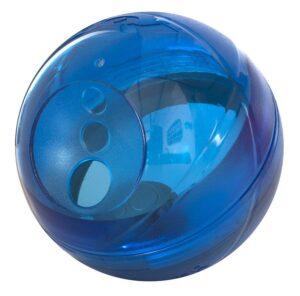 Rogz Интерактивная игрушка-головоломка Tumbler в форме мяча для лакомств c вариантами усложнения, 120 мм, синий