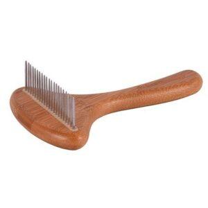 ISB BAMBOO UNDERCOAT RAKE расческа с бамбуковой ручкой и вращающимися зубцами